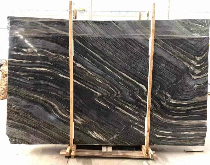 Gold Black Wood Veins Marble Slabs