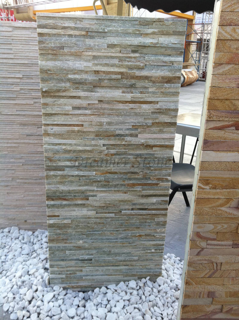 Garden grey thin slate wall cladding stone veneer