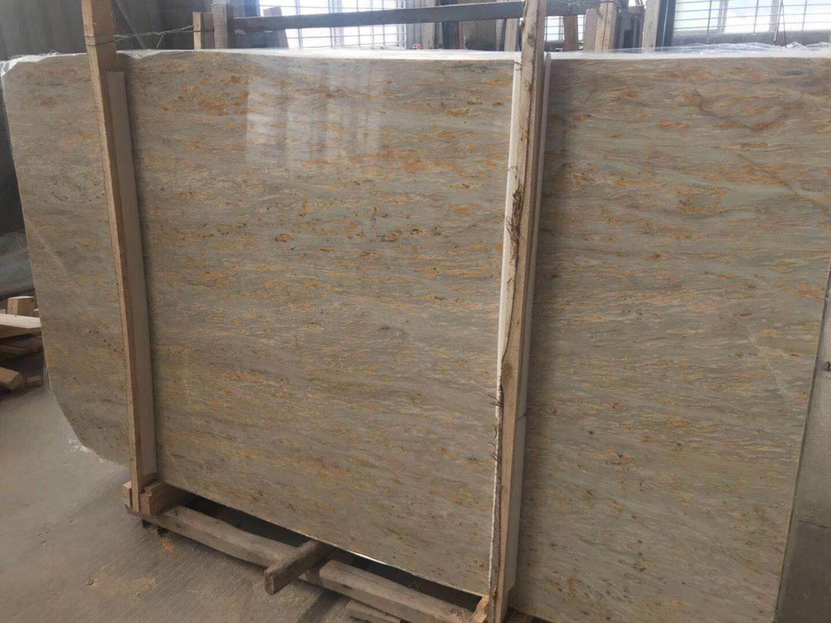 Golden Grey Blue Marble Turkish Polished Slabs
