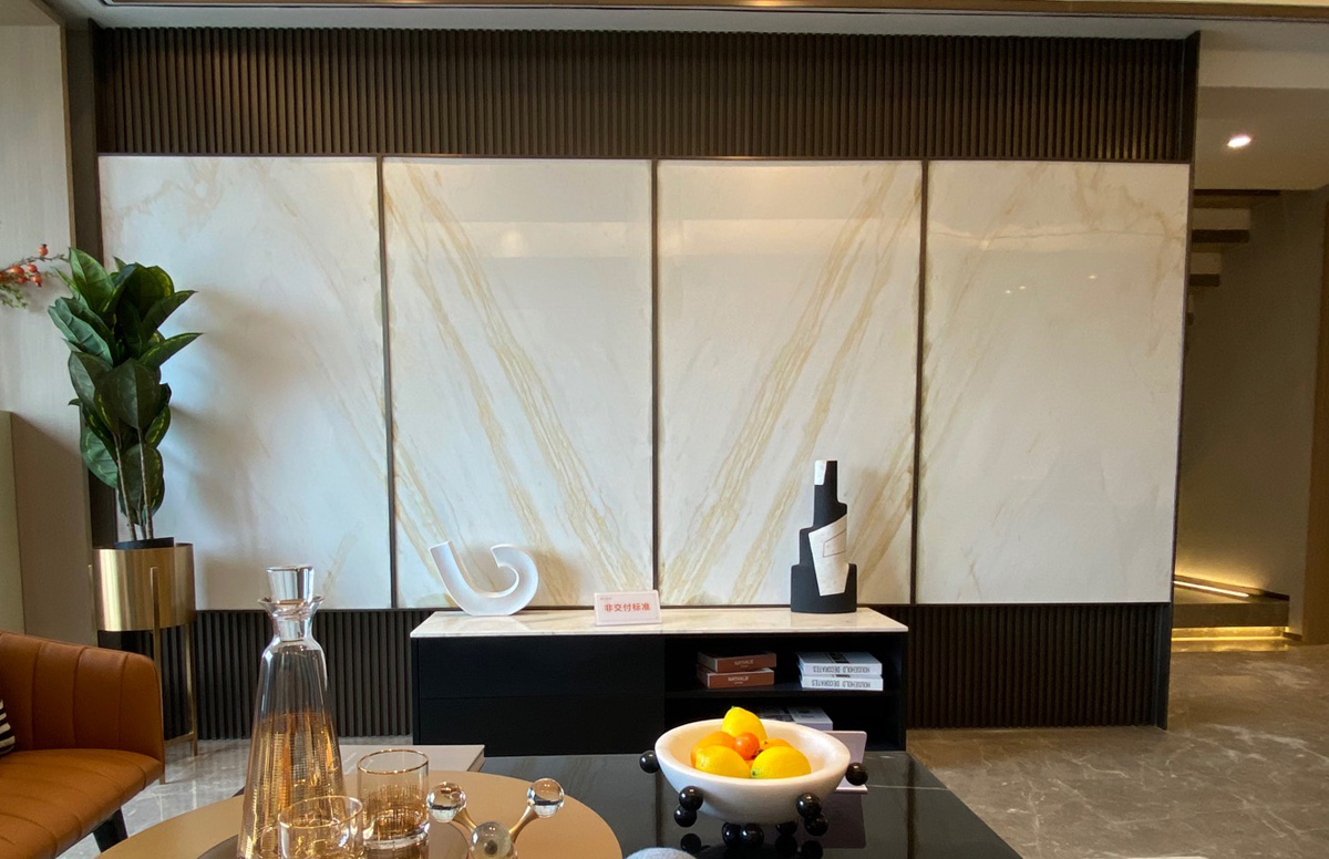 Golden Silk Ariston White Marble Wall Panels