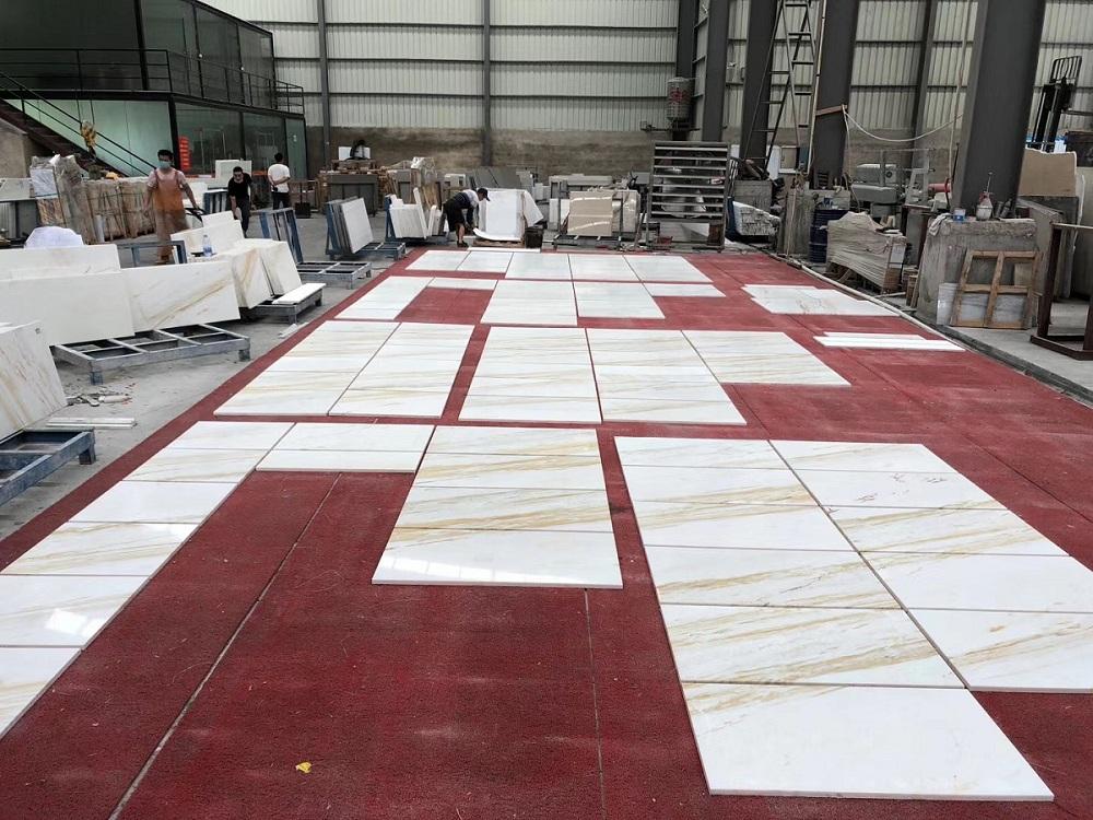 Gold silk arison white tile