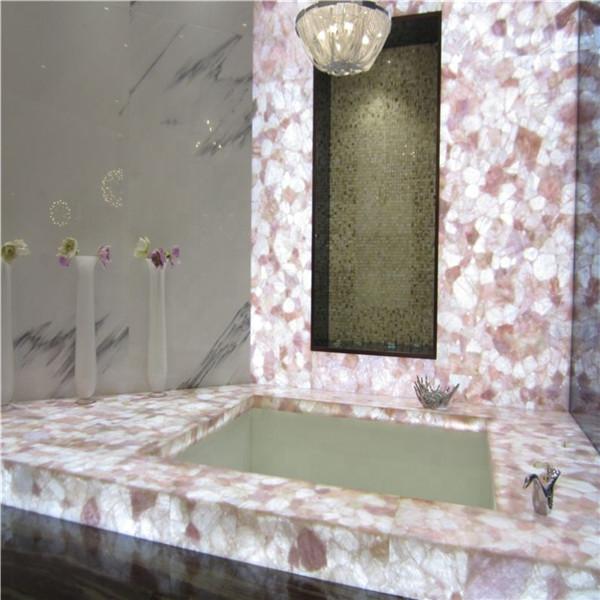Natural Backlit Transparent Pink Agate Slab