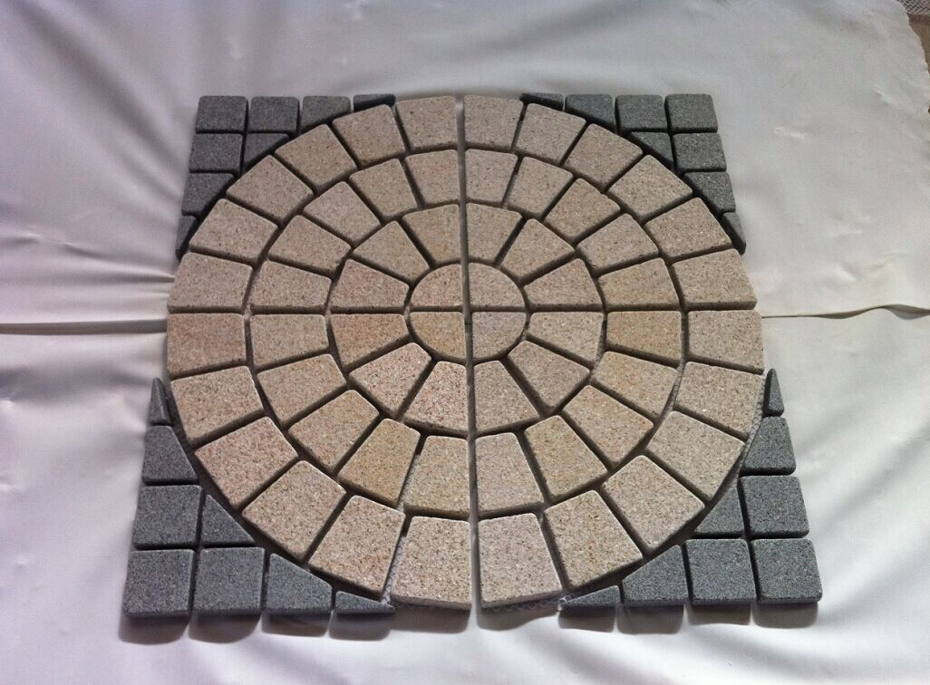 Yellow G682 dark grey G654 cobbles paver