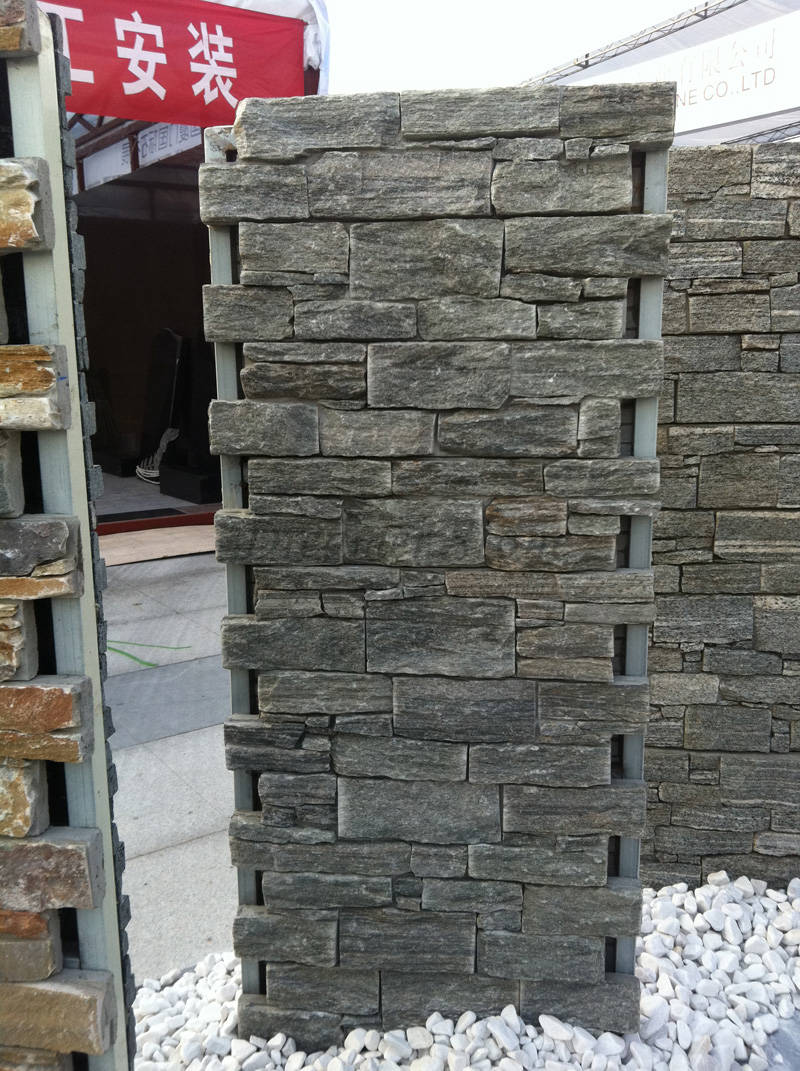 Green quartz cement stacked stone wall panels
