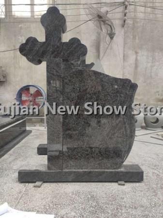 Grey Granite Cross Tombstone
