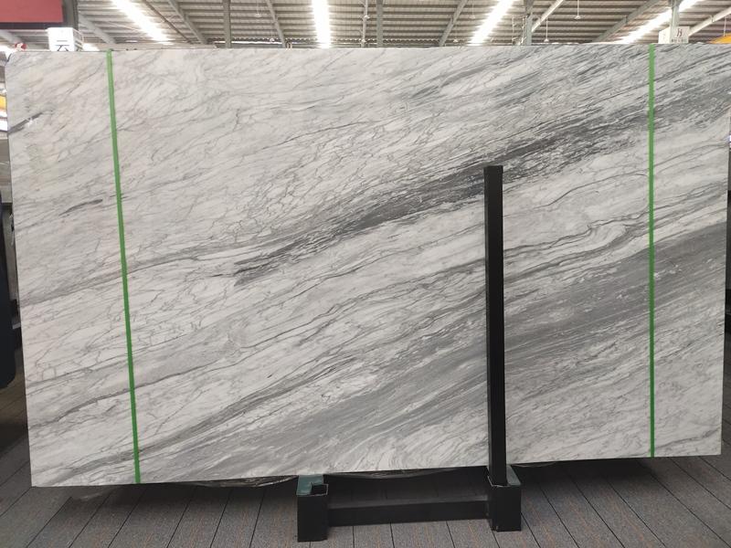 River Grey Carrara White Marble Slabs