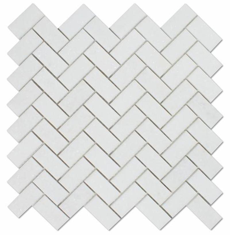 Thassos White herringbone 23x48