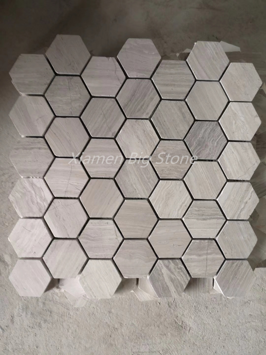 Hexagon Wooden White Marble Mosaic