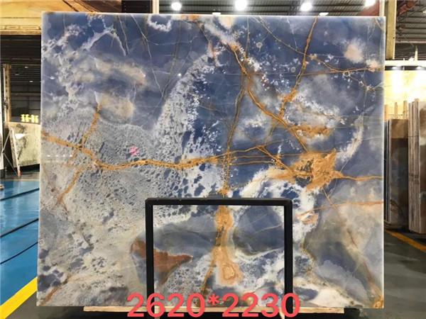 High Polished Blue Onyx Marble Slabs