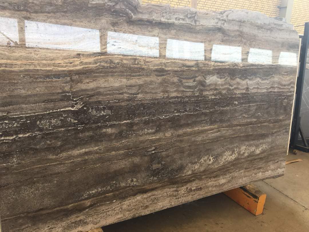 silver travertine slab