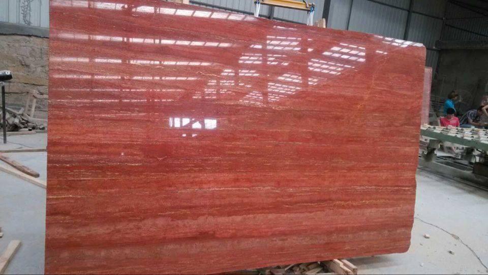 Red Travertine Polished Travertine Stone Slabs