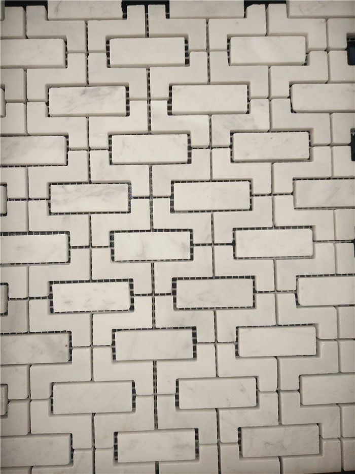Cheap White Stone Mosaic Tiles for Backsplash  Marble Tiles in Bathroom