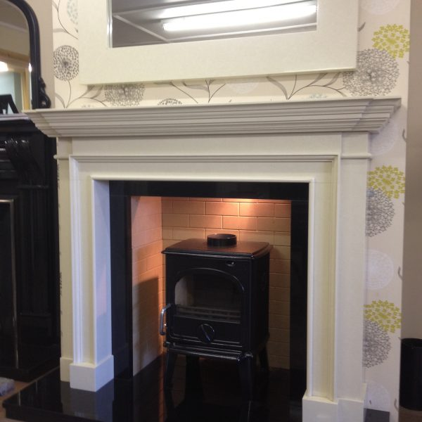 Portugal White Limestone Fireplace