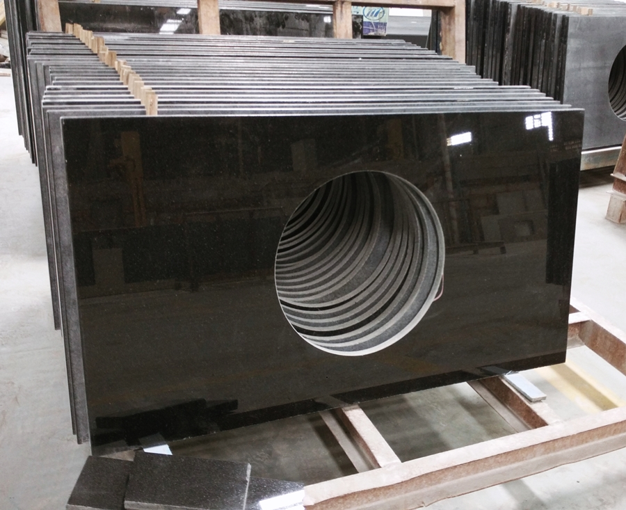 pure black granite vanity top