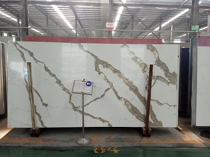 Artificial type calacatta white quartz stone slabs for countertops