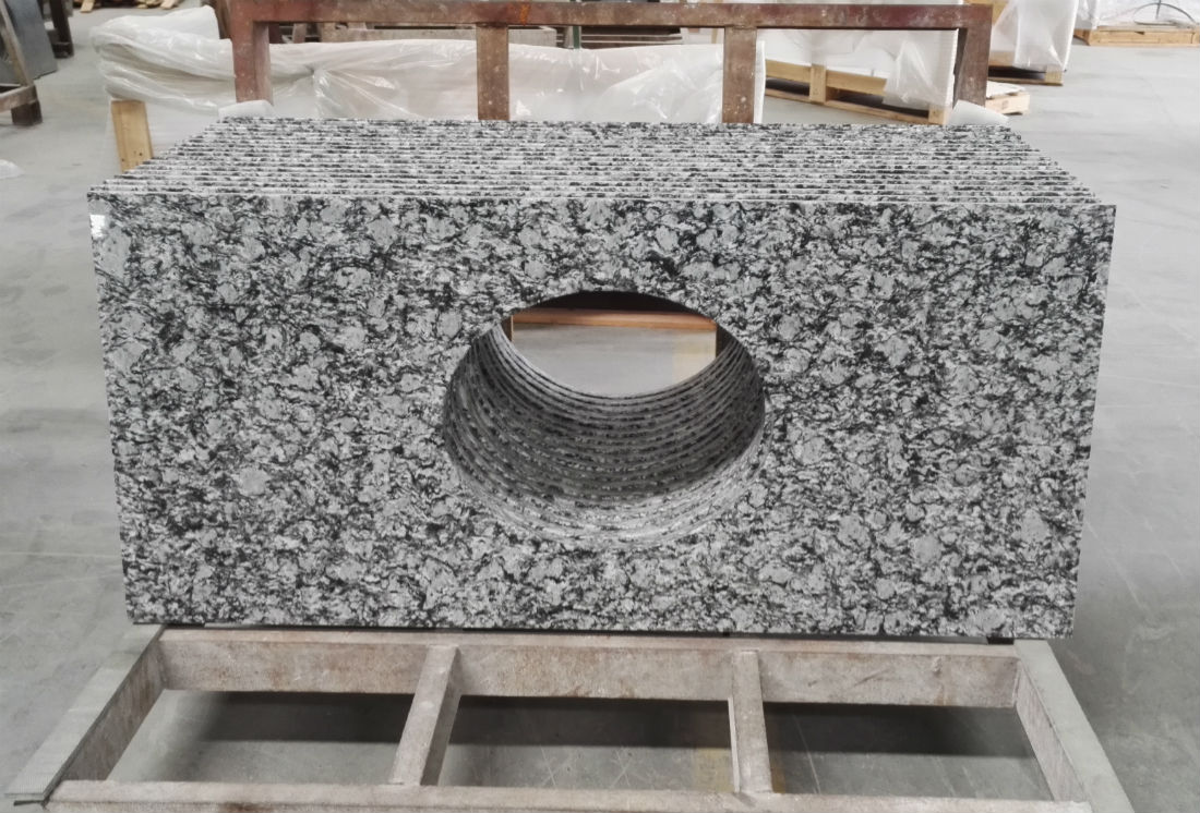 Spray White Granite Vanity Tops