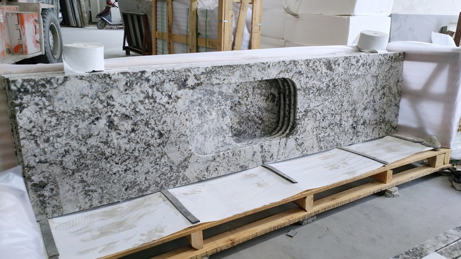 snow mountain silver fox granite countertop