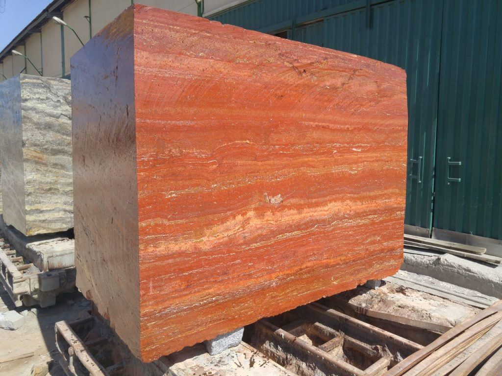 Red Travertine Blocks and Slabs from Iran