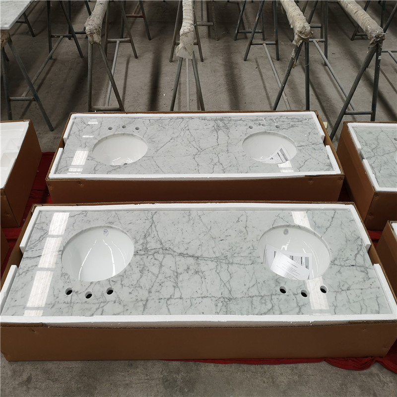 Carrara White Marble Bathroom Vanity Tops