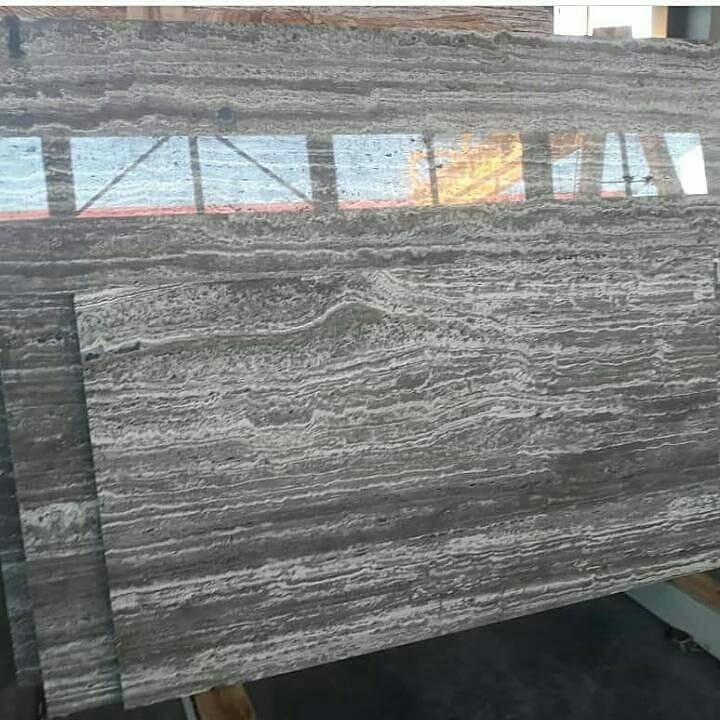 Iranian Grey Polished Travertine Stone Slabs