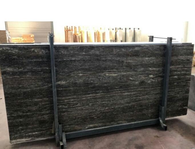 Titanium Travertine Polished Grey Stone Slabs