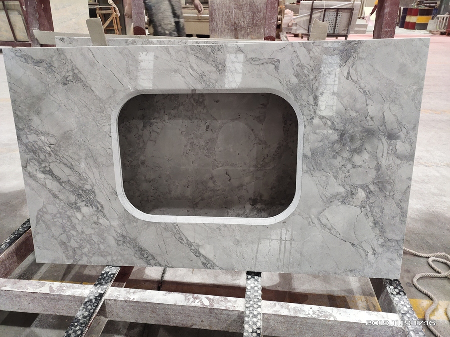 calacatta grey quartzite vanity top