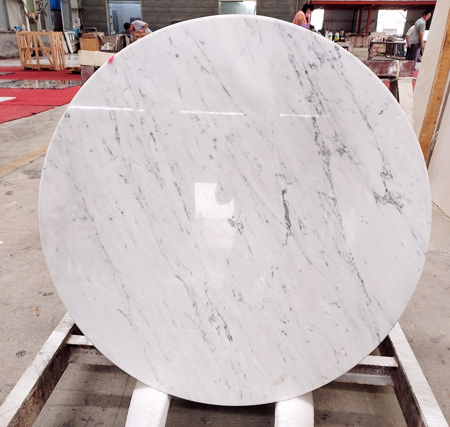 carrara white round table top