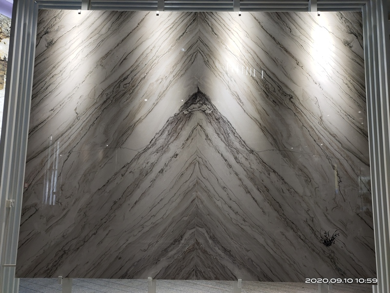 bookmatched white marble with grey veins