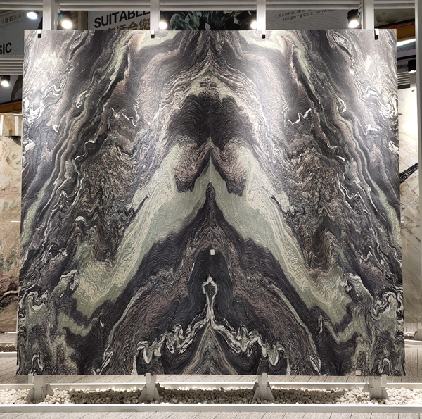 bookmatched cipollino purple marble