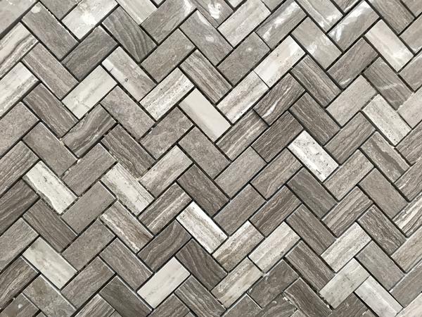 Herringbone mosaic of White Wood Marble mosaics