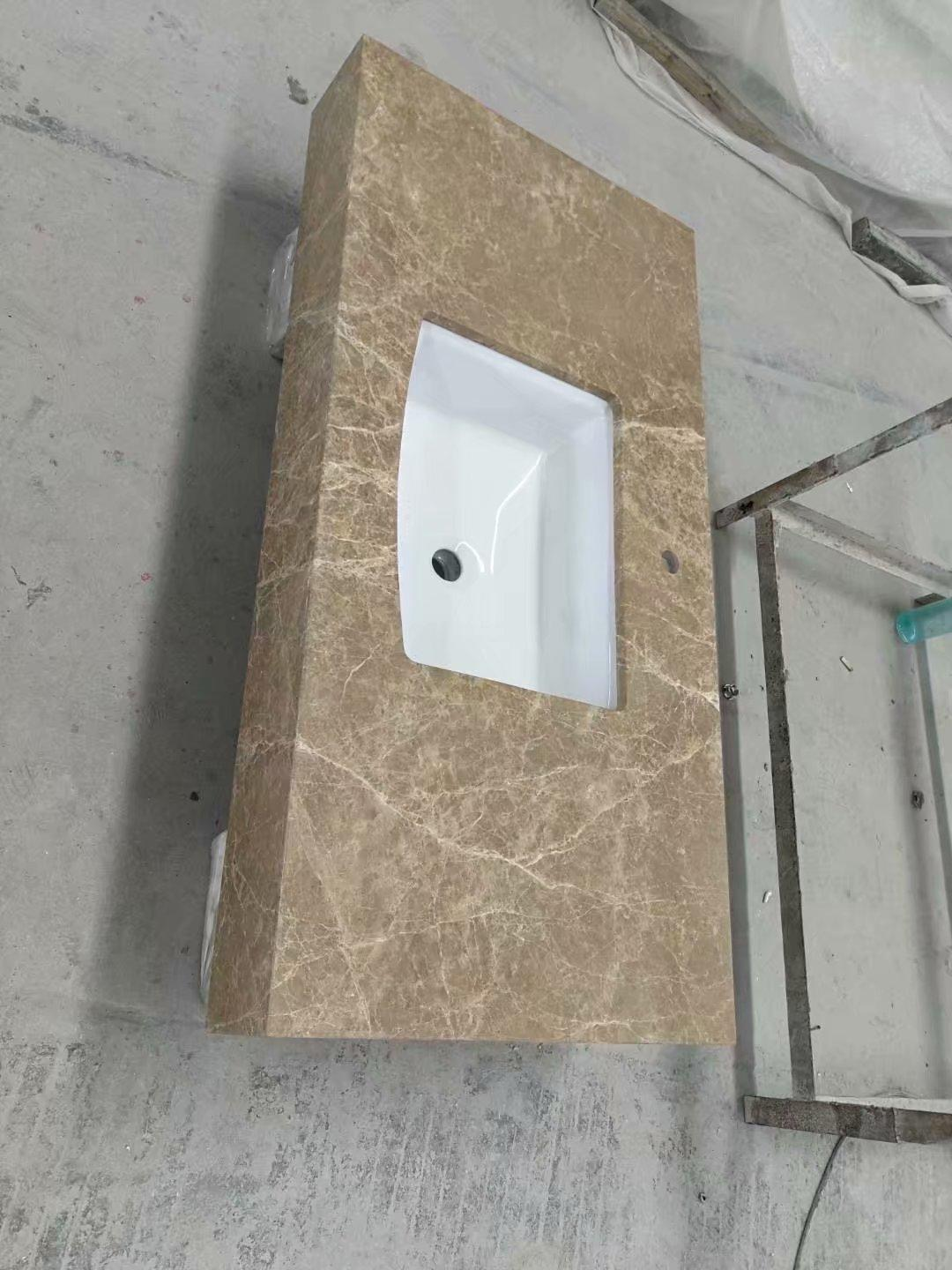 Emperador Light Marble Bathroom Vanity Tops