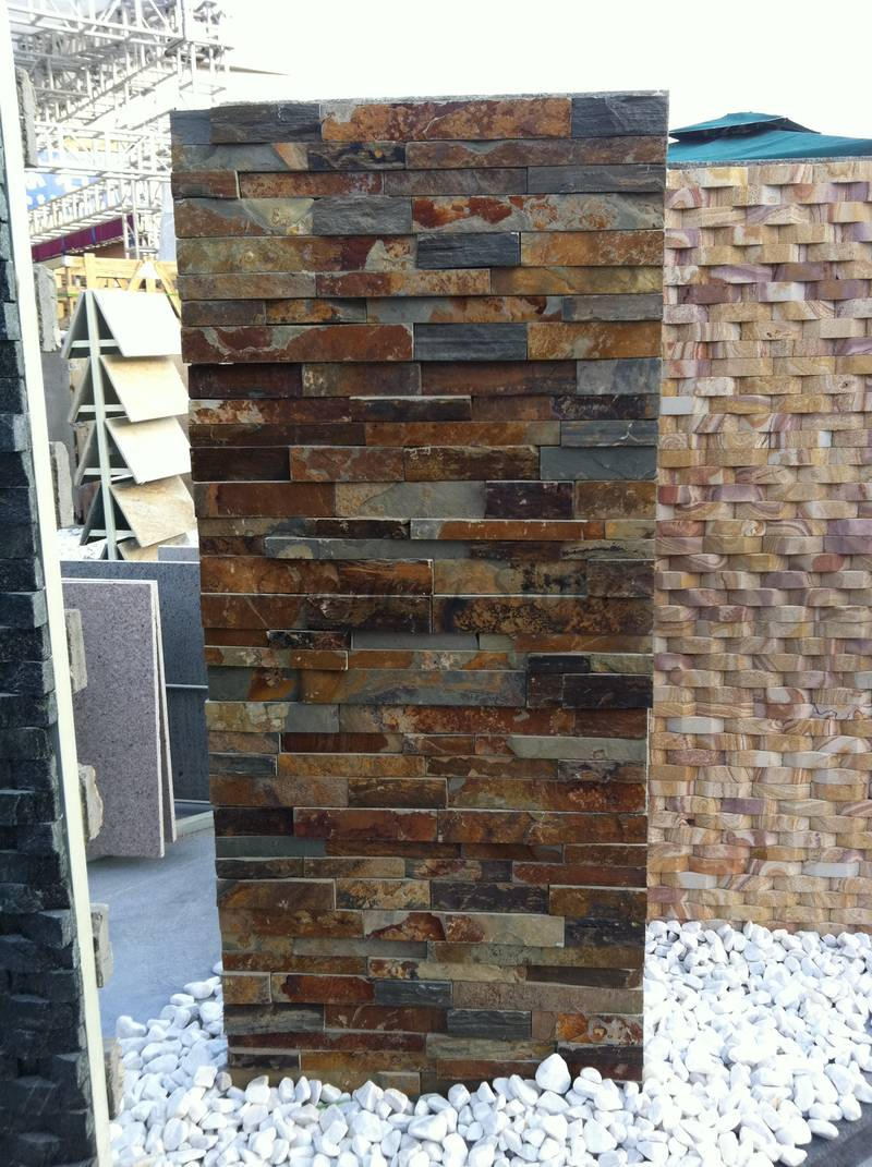 Rusty slate stacked stone veneer wall panel