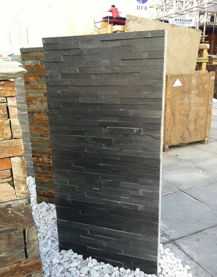 Black slate ledger stone