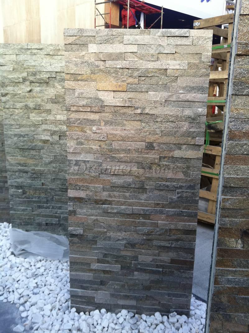 Grey quartz stone ledger wall panel