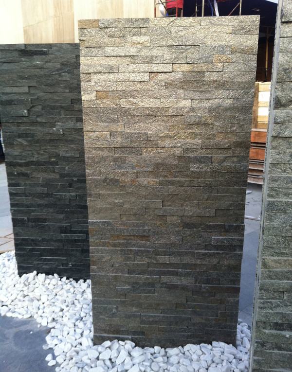 Grey quartzite stacked stone veneer