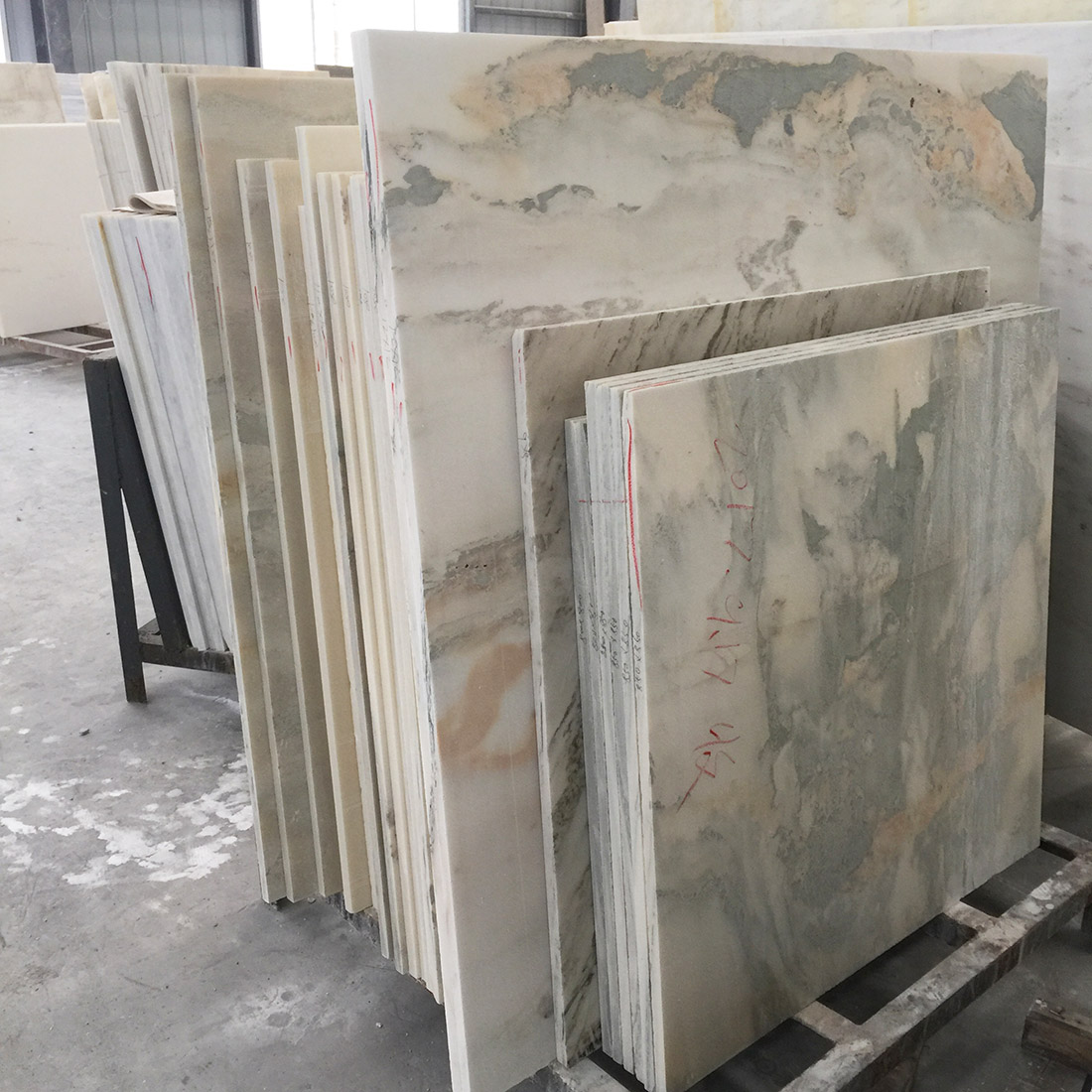 Large Quantity Lanscape Painting Marble Slabs For Project