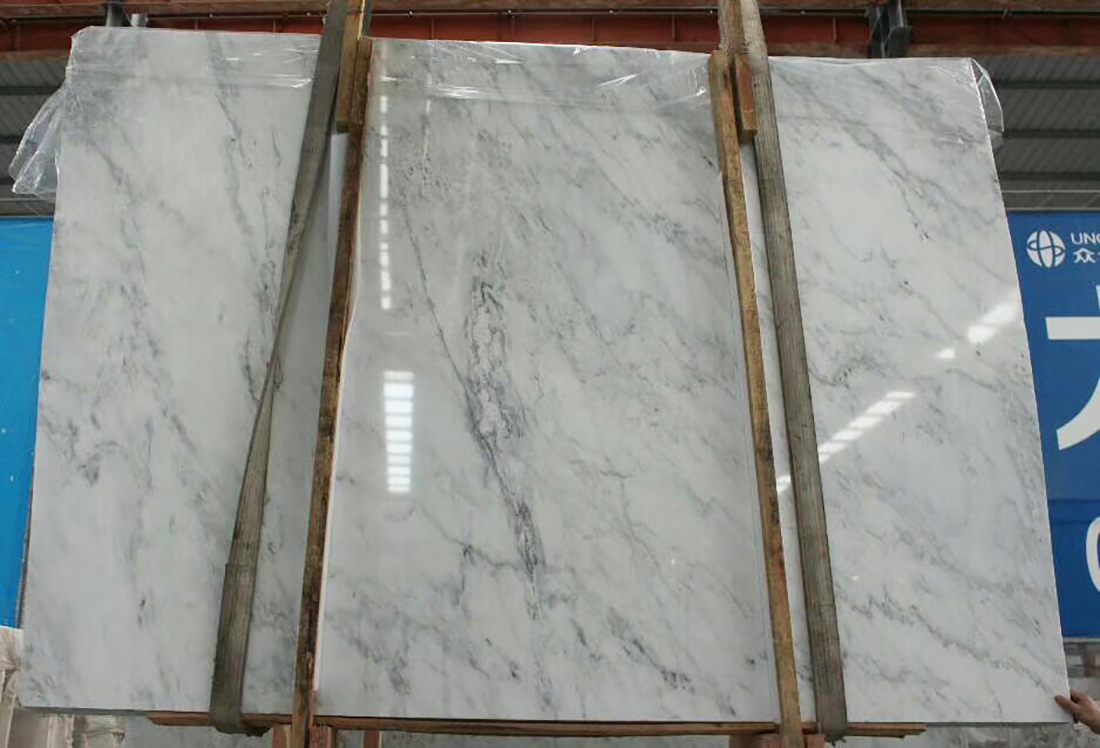 Oriental White and Carrara White Marble Slabs For Clearance Sale