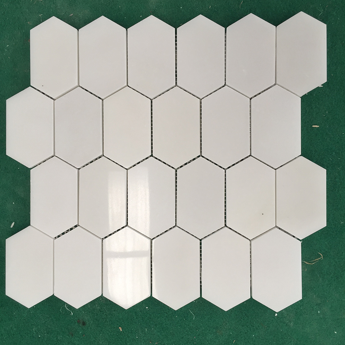 White Marble Mosaic Tiles Hexagon