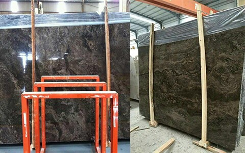 Brown Laminated Marble Slabs Polished Moon Valley Marble