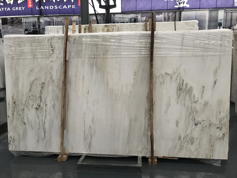 Chinese Landscape Painting Marble White Marble