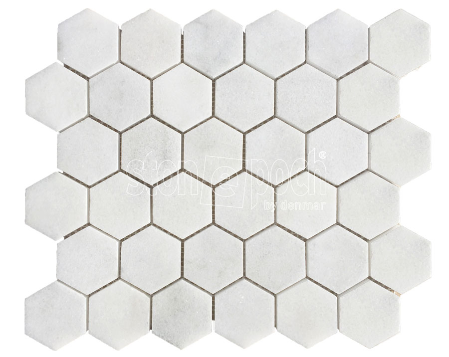 2 Hexagon Carrara Extra Polished Mosaic