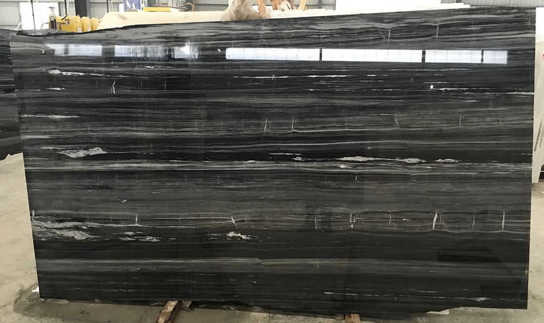 China Black Wooden Grain Marble Black Marble Slabs  Tiles