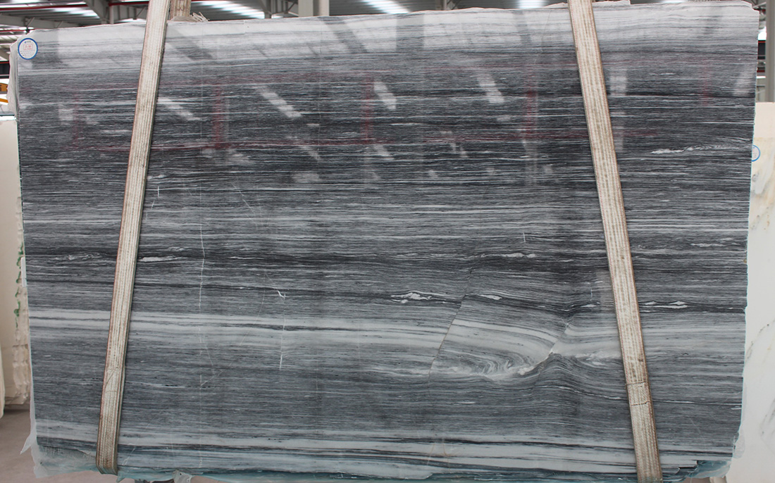 Polished Black Marble Tile&Slab Chinese Grey Veins Natural Stone for Hotel Project Decoration