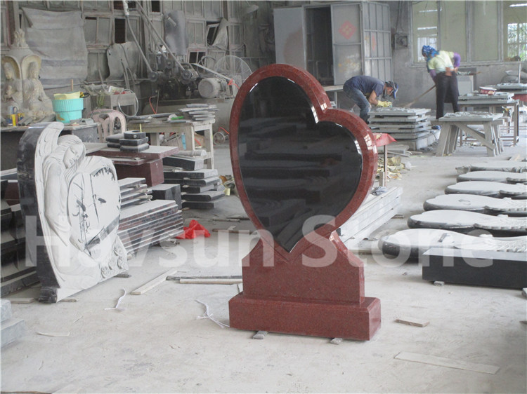 Red slanted Heart Headstone Tombstone Monument