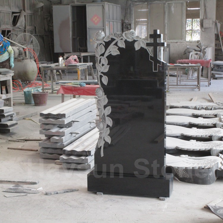 black granite rose cross headstone tombstone