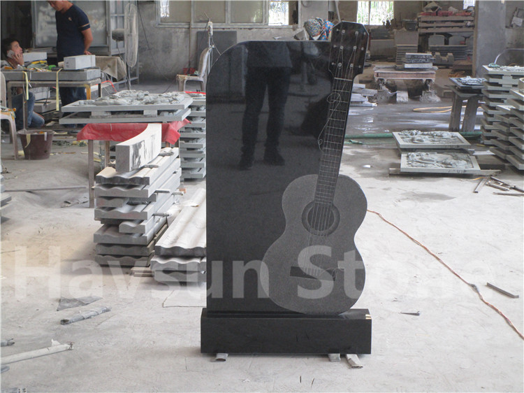 Black Granite Guitar Headstone Tombstone Monument