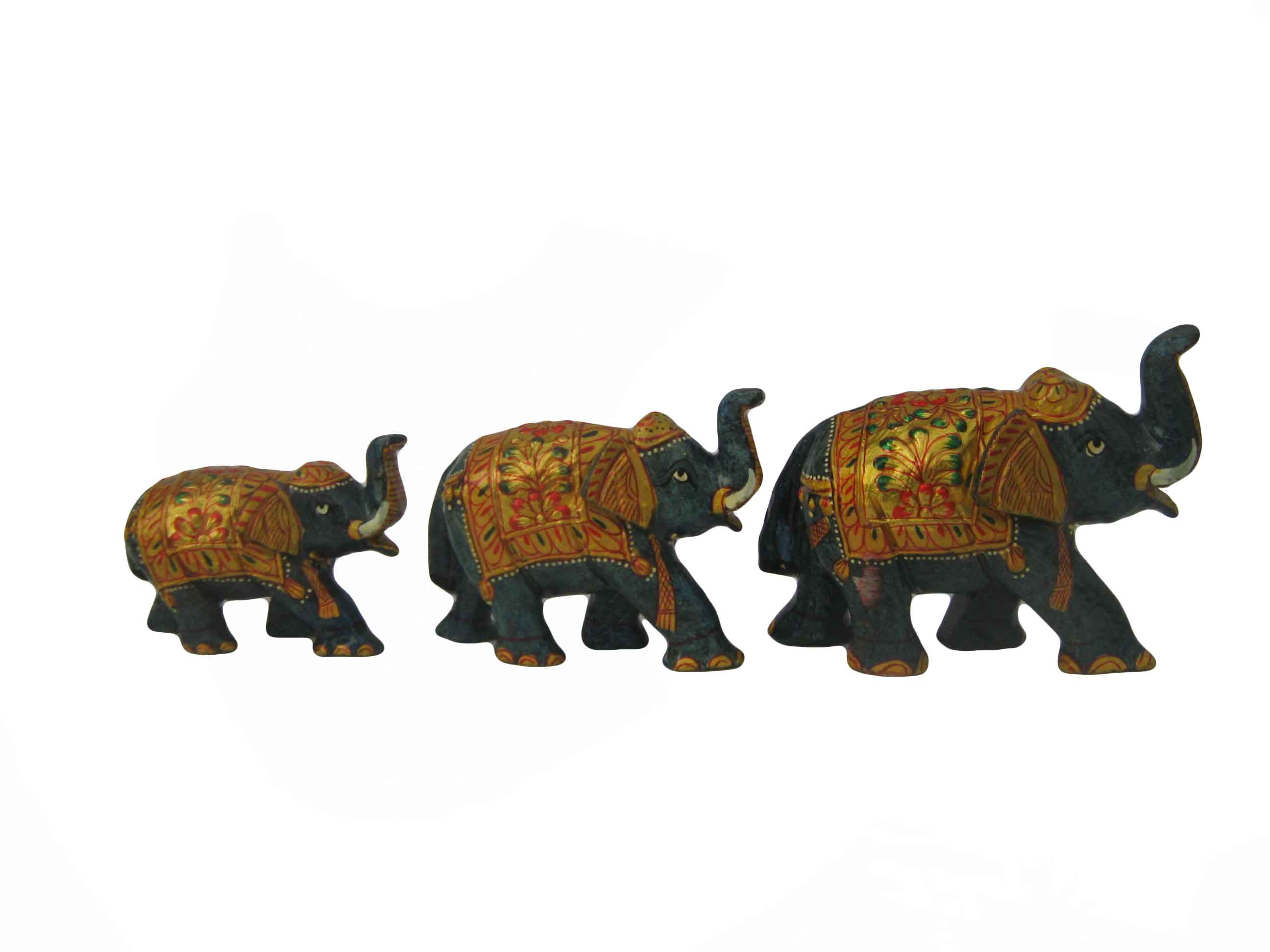 Lapis Elephant Gold Painted