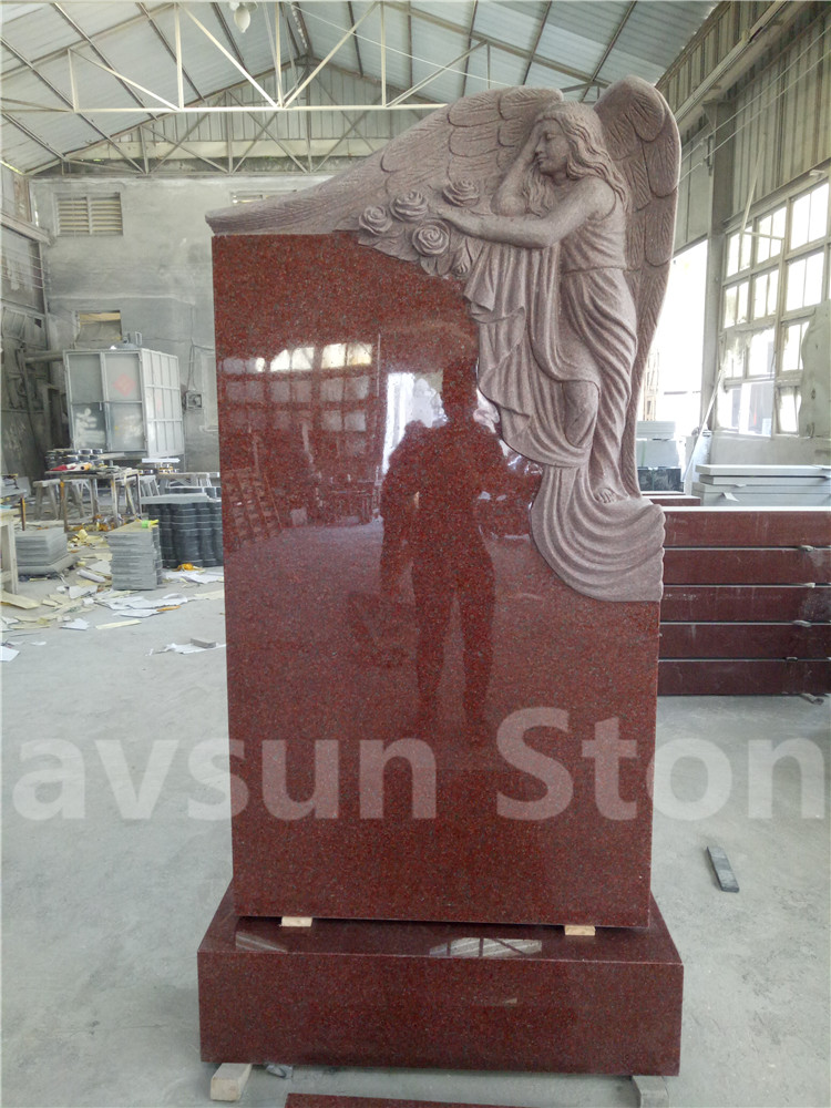 Imperial Red Granite Wing Angel Headstone Monument