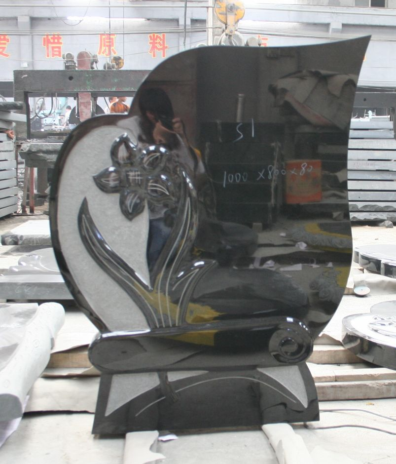 China black polished granite tombstones for graves