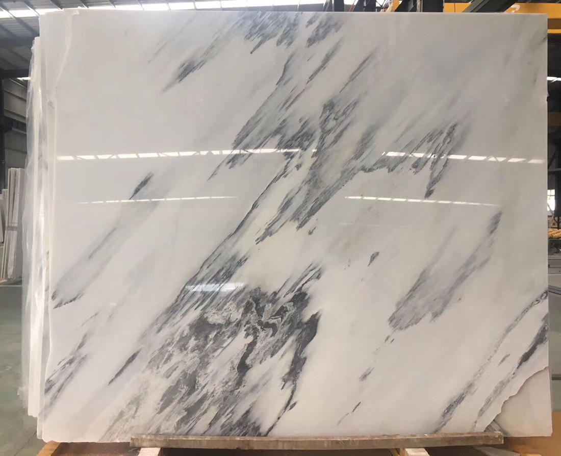 Baoxing Pure Snow White Polished Marble Slab Wall Tile Floor Pattern